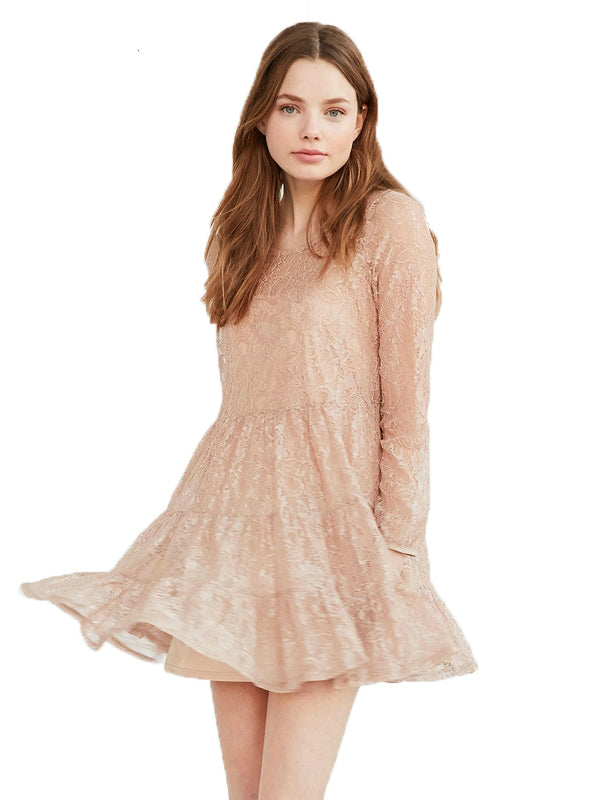 Mini Lace Dress Hollow Out Light Pink  Long Sleeve