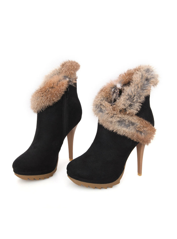 Ankle Boots Winter Platform Boots High Heels Rabbit Fur