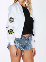 White Biker Bomber Jacket Patches Short Coat