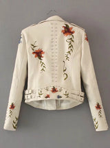 Women Embroidery Faux Leather PU Jacket