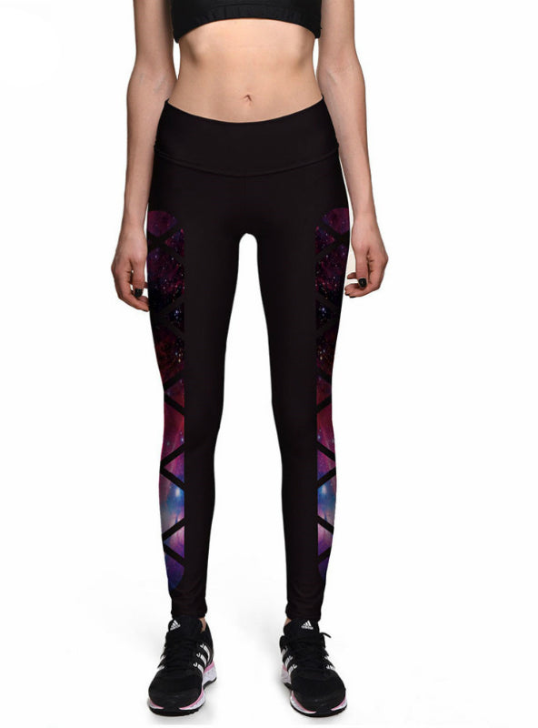 Train Fitness Black Grid Star Galaxy High Waist Elastic