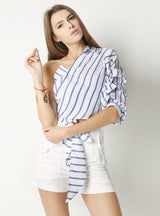 One Shoulder V-neck Half Puff Sleeve Casual Shirts