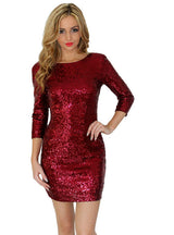 O Neck Long Sleeve Sequins Bodycon Party Dresses