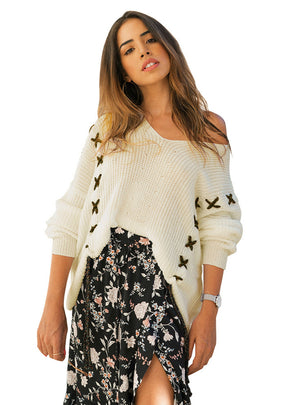 Women V Neck Loose Long Sleeved Sweater