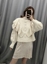 Fashion Ruffled Cropped Knitted Sweater Vintage