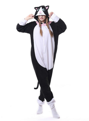 Flannel Black Cat Onesie Pajama Animal For Women