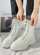 Women PU Leather Ankle Boots Round Toe Lace Up Shoes