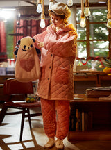 Pink Bear Thickened Warm Coral Fleece Two-piece Suit