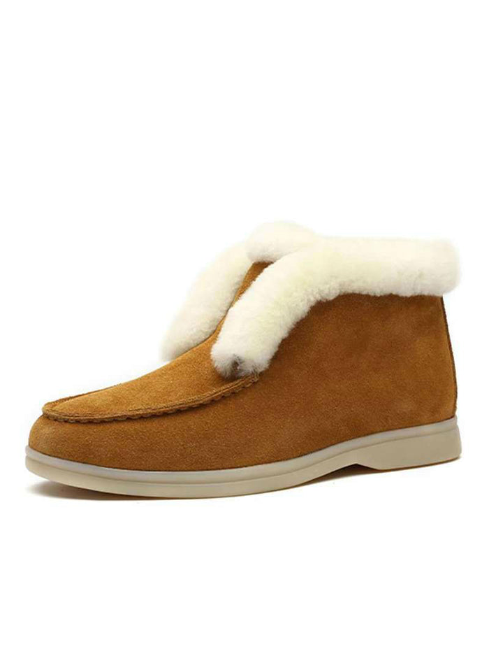 Ankle Boots Cow Suede Leather Boots Natural Fur Warm