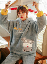 Gray Dog Pajamas Cartoon Cute Thick Flannel Suit