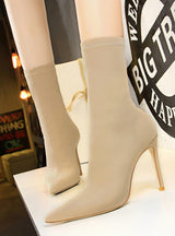 Women Boots Beige Pointed Toe Elastic Ankle Boots