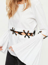 White Sexy Patchwork T-shirt Brief Long Flare