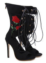 Rope Sandals Strappy High Heel Gladiator Sandals