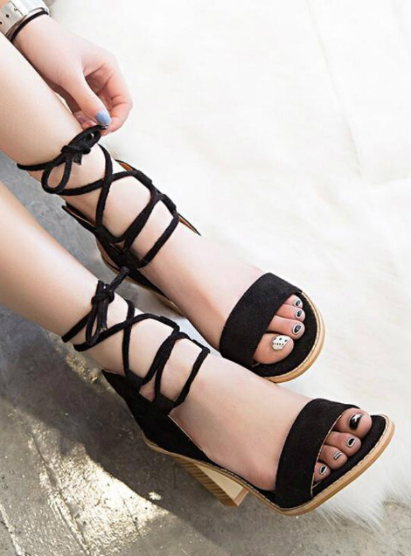 Pumps Open Toe Lace up Heels Sandals Woman
