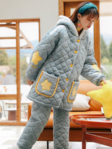 Green Star Moon Thickened Cashmere Three-layer Cotton-padded Jacket