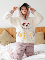 Purple Music Pig Coral Velvet Pajamas Thicken Warm Cationic