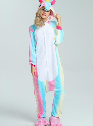 Rainbow Unicorn Costume Pajamas Sleepwear Onesie