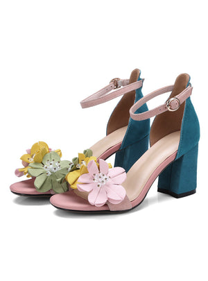 Flower Women Sandals High Heels Sandals Open Toe
