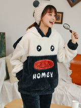 Black Cute Cow Lovely Cartoon Winter Velvet Padded Flannel