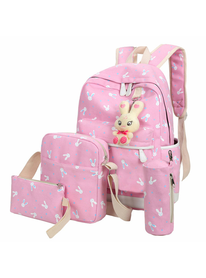 4Pcs/Sets Women Backpacks Teenage Girls Students
