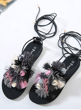 Lace Up Open Toe Sandals Handmade Rome