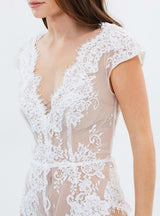 White Sexy Lace Bodysuits Women Mesh Semi