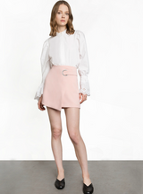 Pink Ring Wrap Mini Skirt College Style Mid-Waist