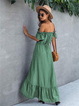 Off Shoulder Women Strapless Backless Ruffle Dress