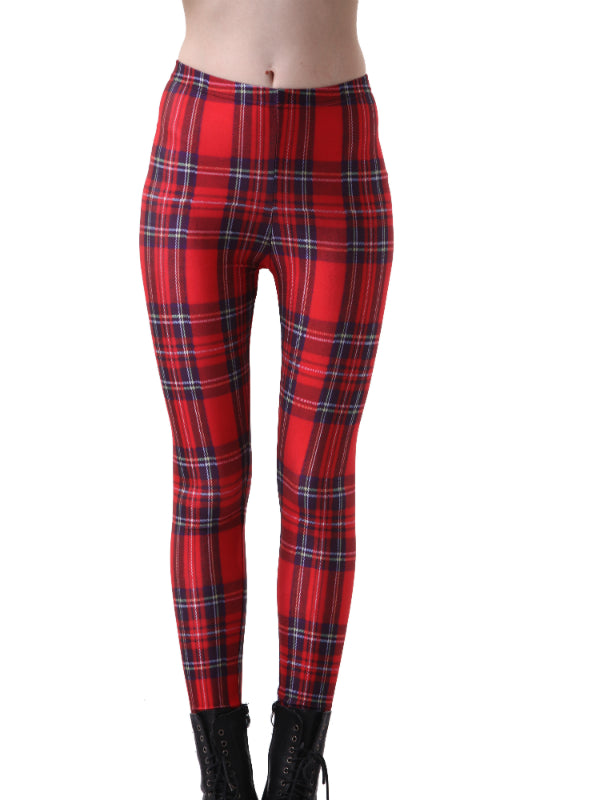Slim Designed Digital Printed Milk Tartan Red Leggings
