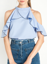 T-shirt Solid Blue Ruffles Patchwork T-shirt Cold Shoulder