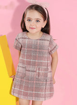 O-neck Plaid Pocket Design for Children