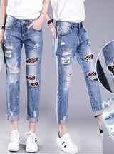 Hollow Out Ripped Jeans Female Black Mesh Jeans