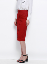 Solid Red Elegant Women High Waist Pocket