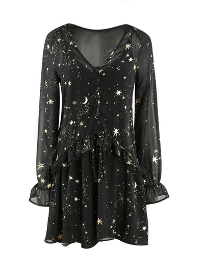 Black Star Printed Sweet Dresses V-Neck Long Sleeve