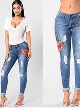 Pencil Embroidery Jeans Ripped For Woman