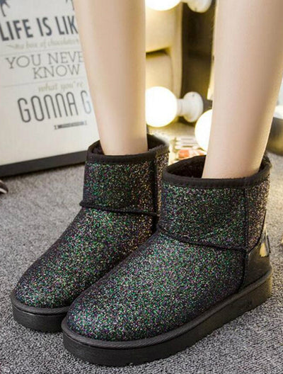 Winter Snow Boots Sequins Classic Women Short Boots