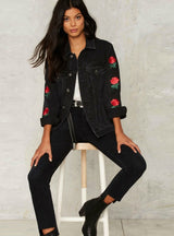 Denim Jacket Casual Floral Embroidery Casual Coat
