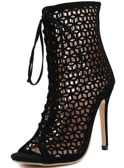 Front Open Cross Strap Stilettos Pumps Genova Ankle Boots