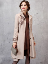 Women's Coat With Belt Embroidery Jacket