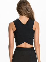 Sexy Golden Black Vests Cross Crop Sleeveless Party Club
