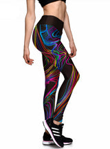 Colorful Painting 3D Print Women High Waist Pants
