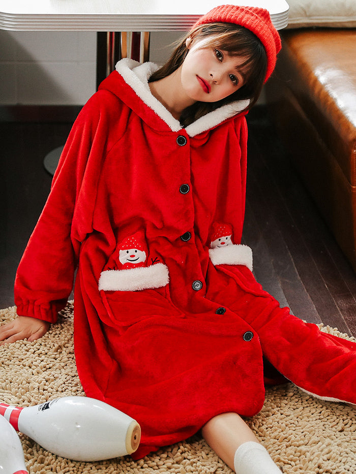Winter Warm Flannel Christmas Snowman Bathrobe