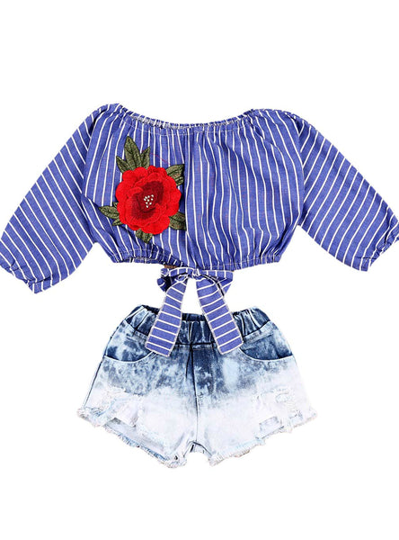 Tops Shirts Blouse Flower Striped Denim Short Jeans