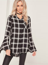 Plaid Shirts Women Flare Sleeve Female Long Tops
