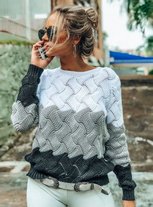 Women Winter Long Sleeve Crewneck Knitted Pullover