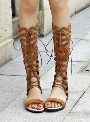 Knee High Gladiator Sandals Lace Up Flats Heel
