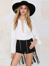 Three Pocket Pu Leather Tassel Stitching Hem Slim Shorts