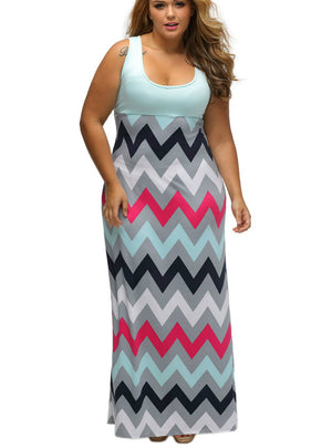Multicolor Zigzag Maxi Dress Casual Party Loose Dresses