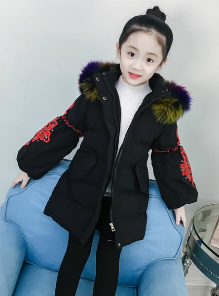 Girl Winter Embroidery Puff Sleeve Down Jacket