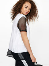 O-Neck Mesh Patchwork T-shirt Summer Brief
